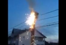 Foc la stâlpul de curent electric